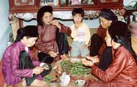 Chewing Betel and Areca Nuts and smoking thuoc lao