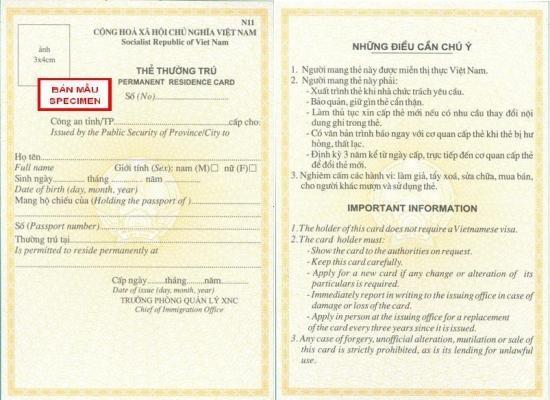 permanent resident card vietnam