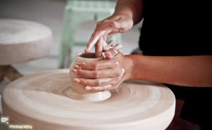 Bat Trang pottery on turning table