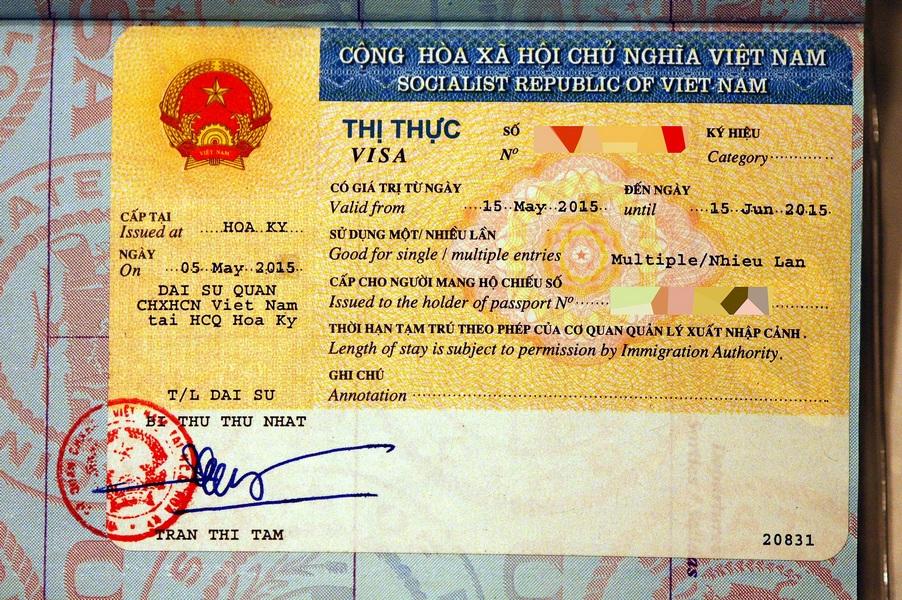 Sample Vietnam visa